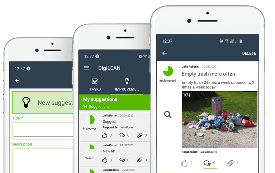 Three overlapping illustrations of the DigiLEAN mobile app on white smart phones