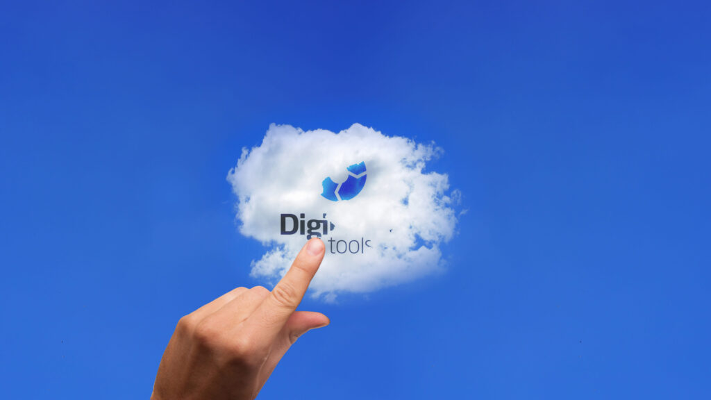 Single cloud on blue sky. The cloud has DigiLEAN logo embedded and a hand is about to touch the cloud