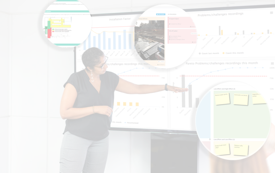 Woman presenting key figures for a team using DigiLEAN on a large touch screen